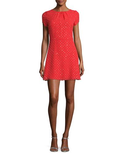 Glitter-Dot Cap-Sleeve A-Line Dress, Red/Gold