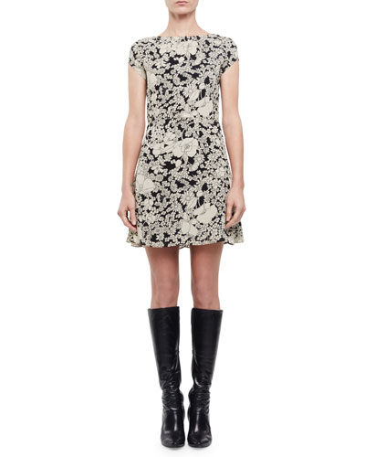 Cap-Sleeve Floral-Print Dress, Black/Off White