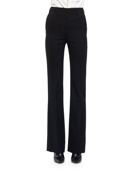 Saint Laurent Slightly Flared High-Waist Pants, Black