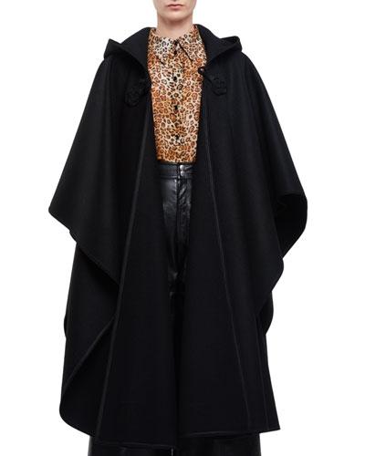 Hooded Oversized Cape W/Tassel, Black