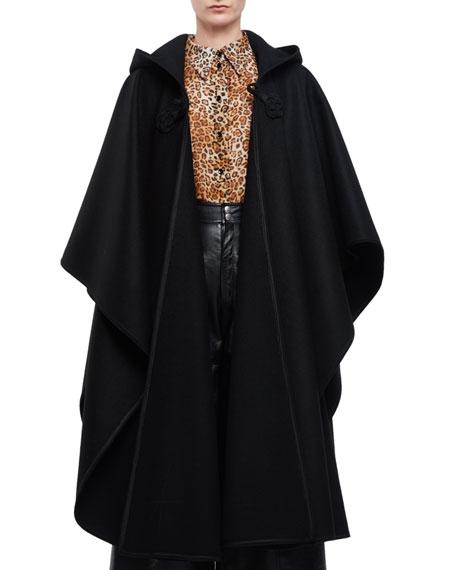 Saint Laurent Hooded Oversized Cape W/Tassel, Leopard-Print