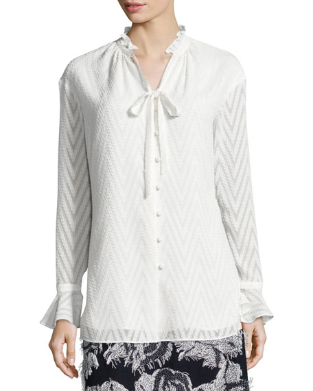 Chevron Fil Coupe V-Neck Blouse, Frost