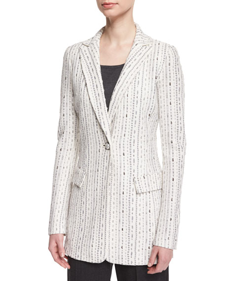 St. John Collection Anva Stitched One-Button Jacket, Frost/Multi