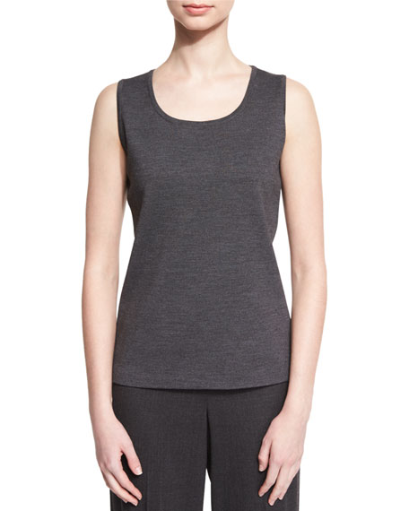 St. John Collection Milano Knit Contour Shell, Hematite