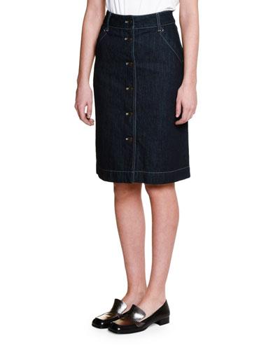 Button-Front Denim Skirt, Dark Navy