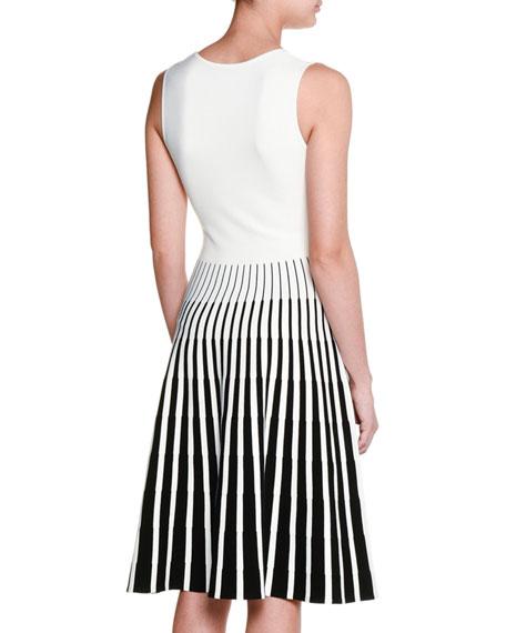 Sleeveless Striped-Skirt Dress, Black/Chalk