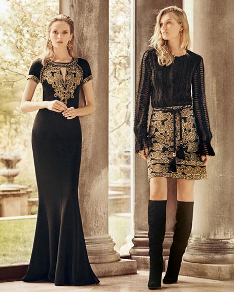 Sequined A-Line Mini Skirt, Caviar