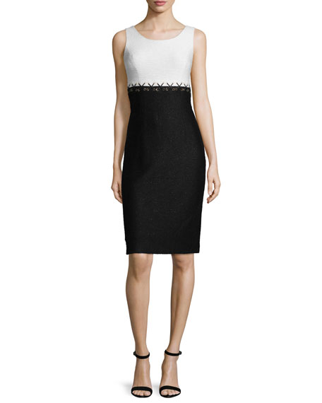 St. John Collection Aliso Colorblock Sleeveless Sheath Dress,