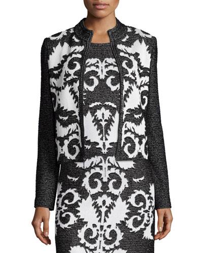 Layla Jacquard Mandarin-Collar Jacket, Caviar/Frost