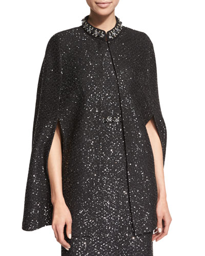 Beaded Spangle-Knit Cape, Caviar