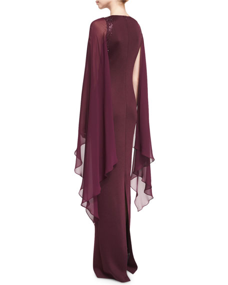Cape-Sleeve Sequined-Knit Gown, Plum