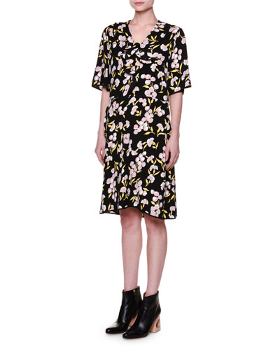 Half-Sleeve Flower-Print Dress, Black
