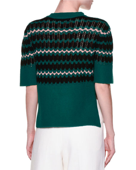 Short-Sleeve Wave-Knit Sweater, Jade