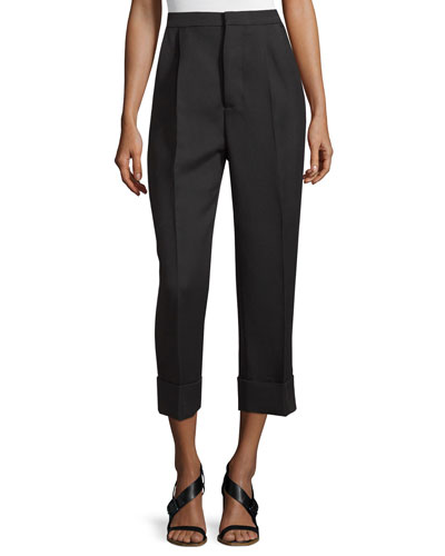 Oversize-Cuff Wool/Silk Ankle Pants