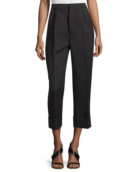 MarniOversize-Cuff Wool/Silk Ankle Pants