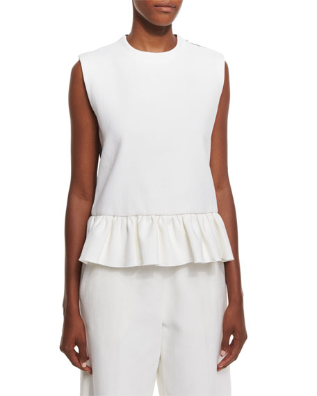 Marni Colorblock Ruffled-Hem Tank, Graphite/Lily White