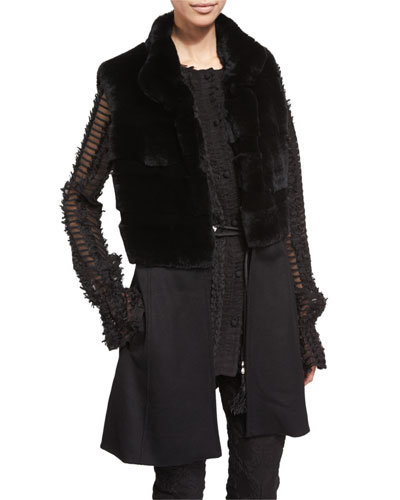 Rabbit-Fur Knit Vest, Caviar