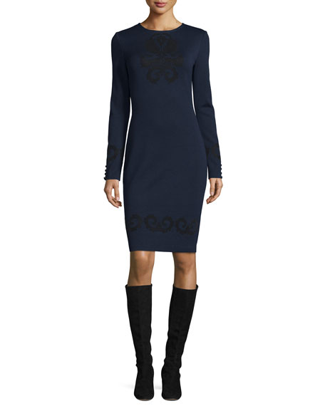 St. John Collection Flocked Milano Knit Long-Sleeve Dress,