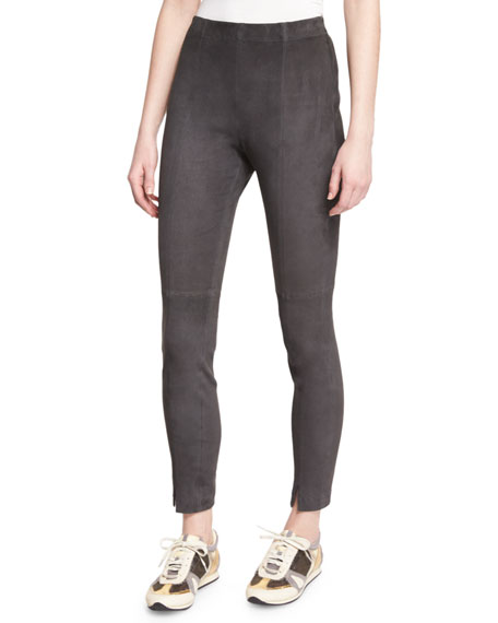 St. John Collection Stretch-Suede Cropped Leggings, Hematite
