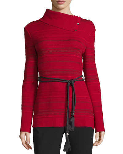 Striped Asymmetric-Turtleneck Sweater, Ruby
