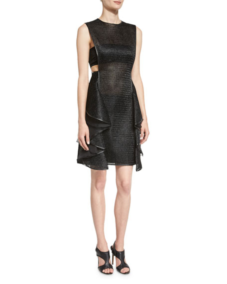 Jason Wu Sleeveless Jewel-Neck Ruffle Dress, Black