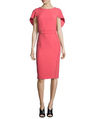 Ruffle-Sleeve Crepe Dress