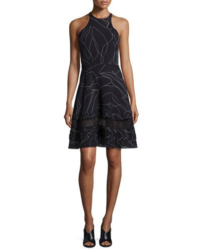 Sleeveless Leaf-Outline Silk Dress