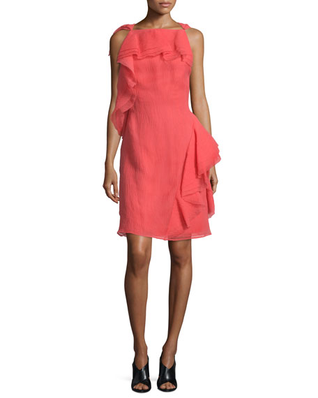 Jason Wu Sleeveless Ruffled Organza Dress, Berry