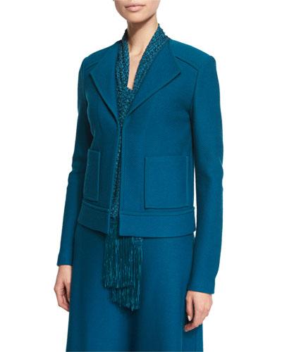 Lattice Pique Knit Jacket, Tanzanite