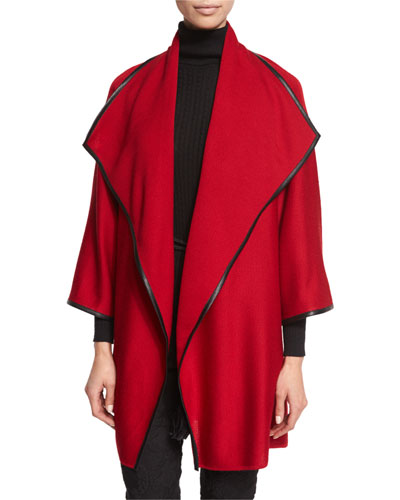 Leather-Trim Kimono-Sleeve Artisan Cardigan, Ruby/Caviar