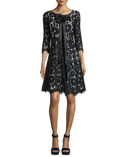 3/4-Sleeve Floral-Lace Dress, Black