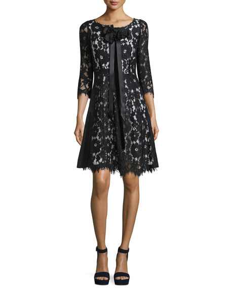 Marc Jacobs 3/4-Sleeve Floral-Lace Dress, Black