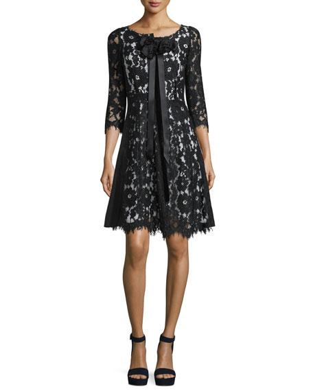Marc Jacobs 3/4-Sleeve Floral-Lace Dress, Black