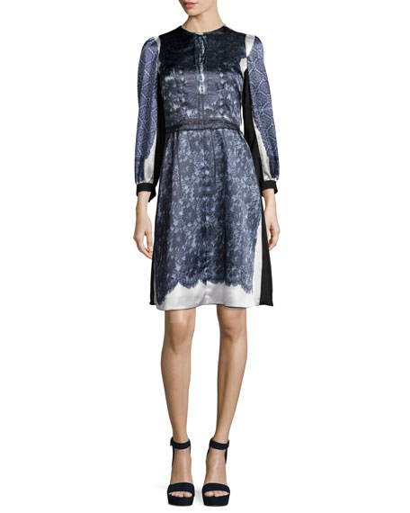Marc Jacobs 3/4-Sleeve Mixed-Print Dress, White