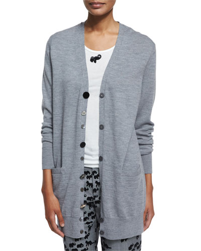 Jewel-Button Oversized Wool Cardigan, Gray Melange