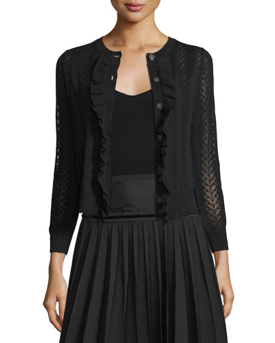 Button-Front Cropped Cardigan W/Ruffle Trim, Black