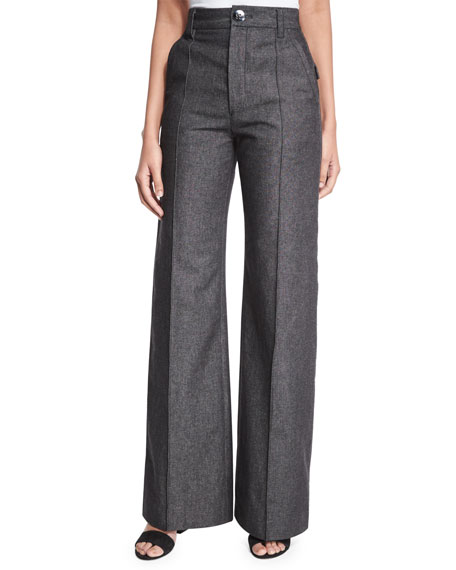 Marc Jacobs Bowie Wide-Leg Denim Pants, Black