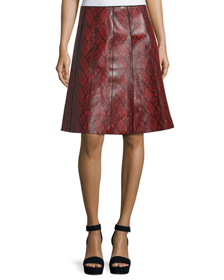 Marc JacobsPython-Embossed Leather Skirt, Red