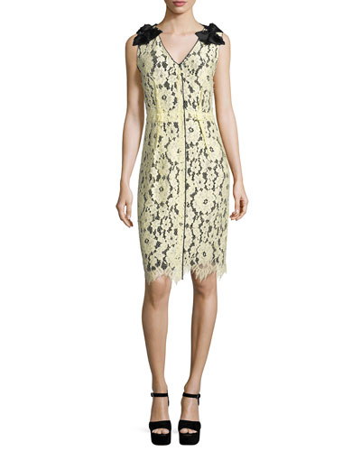 Sleeveless Lace-Overlay Sheath Dress, Pale Yellow