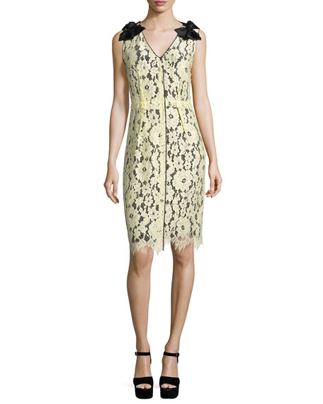 Marc Jacobs Sleeveless Lace-Overlay Sheath Dress, Pale Yellow