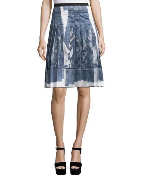 marc high waist pleated skirt white
