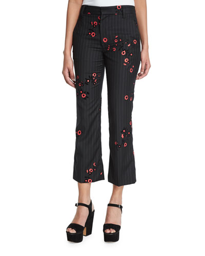 Bowie Pinstripe Floral-Embroidered Cropped Pants, Pinstripe/Multi