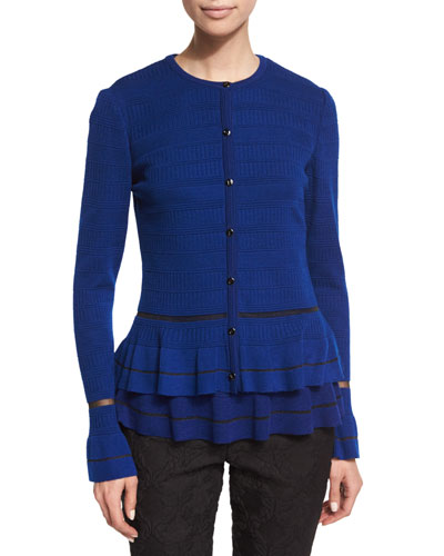 Jewel-Neck Peplum Cardigan, Prussian Blue/Caviar