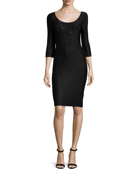 St. John Collection Julia Scoop-Neck Knit Dress, Caviar