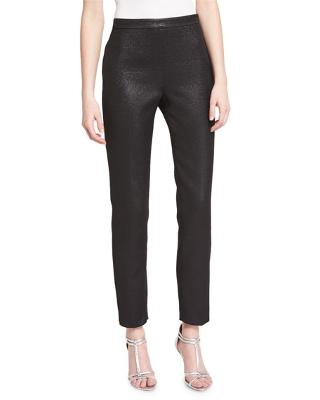 St. John Collection Emma Metallic Tweed Cropped Pants,