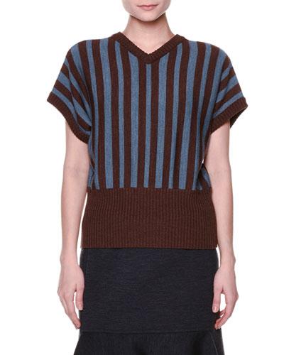 Short-Sleeve V-Neck Striped Sweater, Sadellee Brown