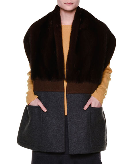 Fur-Collar Belted Cape, Coffee