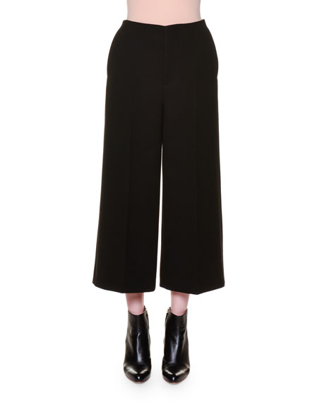 Marni Flat-Front Wide-Leg Cropped Pants, Black