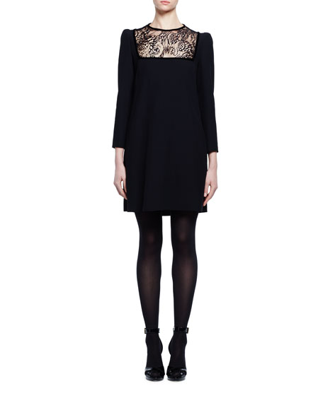 Alexander McQueen Long-Sleeve Lace-Inset Shift Dress, Black