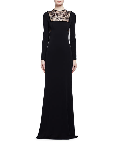 Alexander McQueen Long-Sleeve Butterfly Lace-Inset Gown, Black
